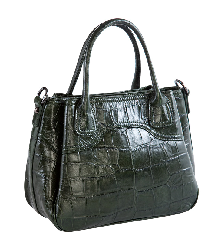 Кожаная сумка Eleganzza, цвет: темно-зеленый.