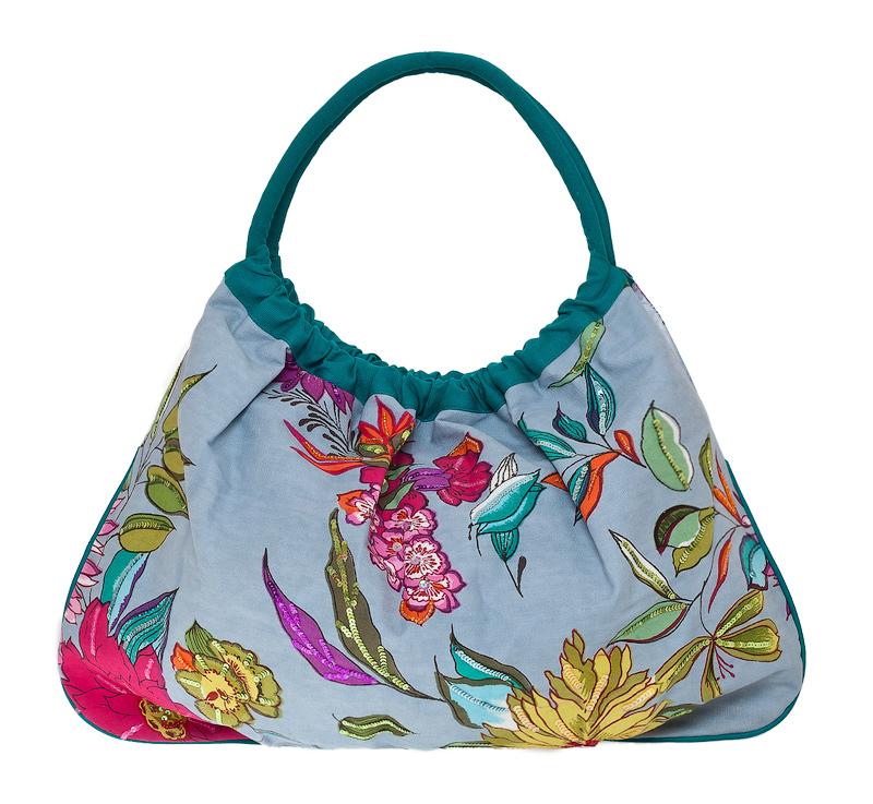 Отделка бисером с лицевой стороны. Пляжная сумка из плотной ткани. Made in Italy