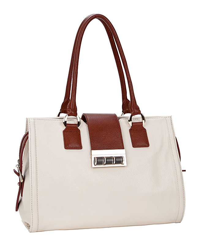Женская сумка LABBRA из натуральной кожи кремового цвета.  Отделка - натуральная кожа коричневого цвета.