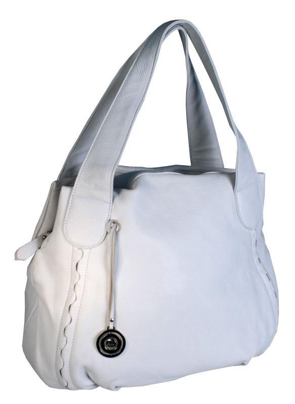 Элегантная женская сумка Palio, выполненная из натуральной кожи белого...