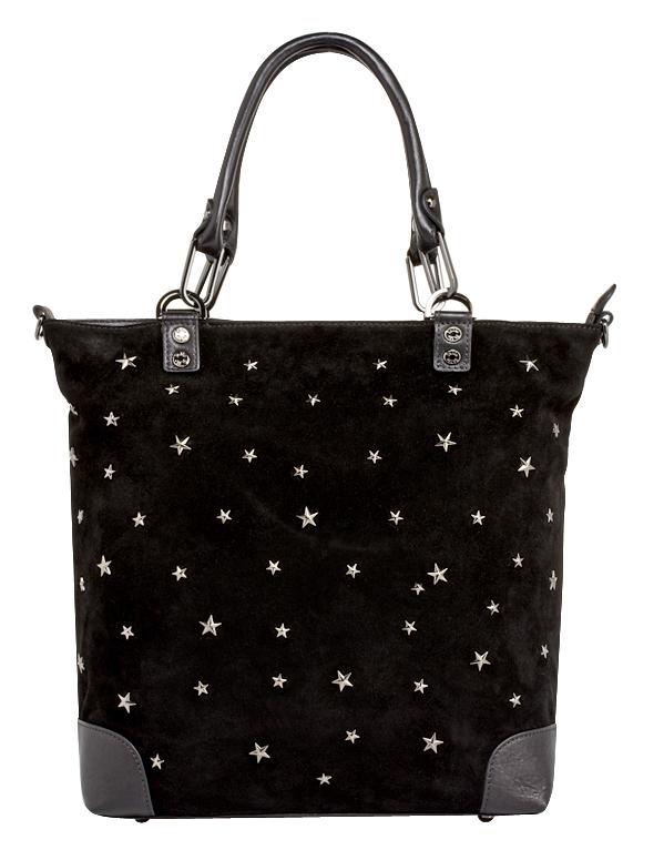 Женская сумка PALIO из натуральной замши черного цвета.