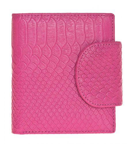 Женский кошелёк Eleganzza из натуральной кожи розового цвета синий ультрамарин с тиснением под кожу змеи.
