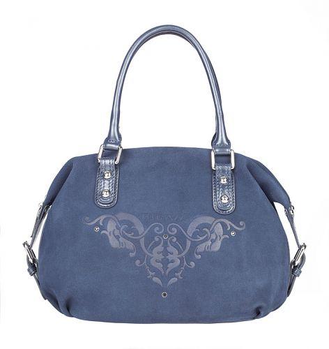 """Женская сумка  """"Eleganzza """" выполнена из натуральной замши синего цвета."""
