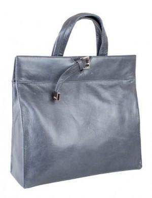 2438S.  Сумка-портфель Palio из натуральной кожи серо-синего цвета.
