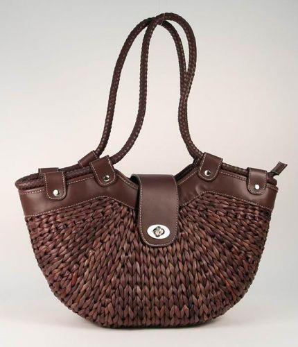 Летняя городская сумка из соломки темно-коричневого цвета, отделка...