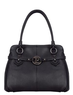 Женская сумка Palio выполнена из натуральной кожи черного цвета.