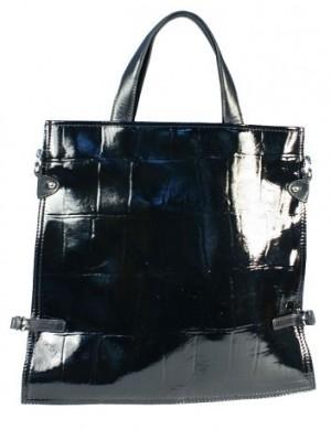 Женская лакированная сумка Eleganzza из натуральной кожи черного цвета.