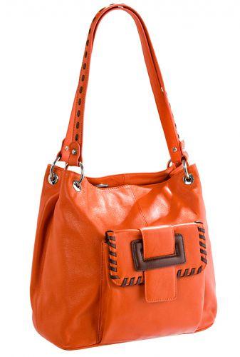 Женская сумка ELEGANZZA выполнена из натуральной матовой кожи оранжевого...