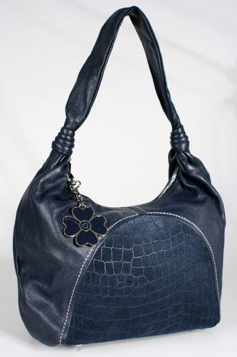 Женская сумка Eleganzza, выполненная из натуральной кожи темно-синего...