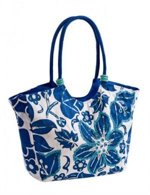 Яркая пляжная сумка Collage, выполненная из текстиля белого цвета с...