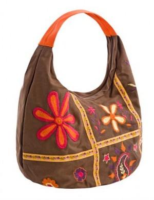 Пляжная коричневая сумка Collage с одним отделением, закрывающимся на...