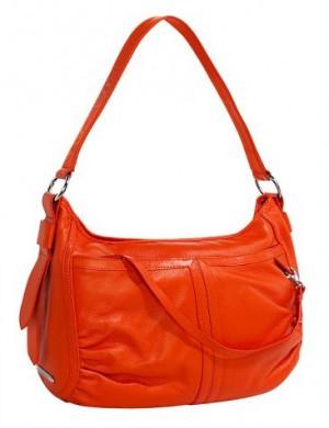Оранжевая кожаная сумка Arte имеет отстегивающийся ремешок.