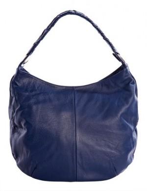 Женская сумка Leo Ventoni из натуральной матовой кожи синего цвета.