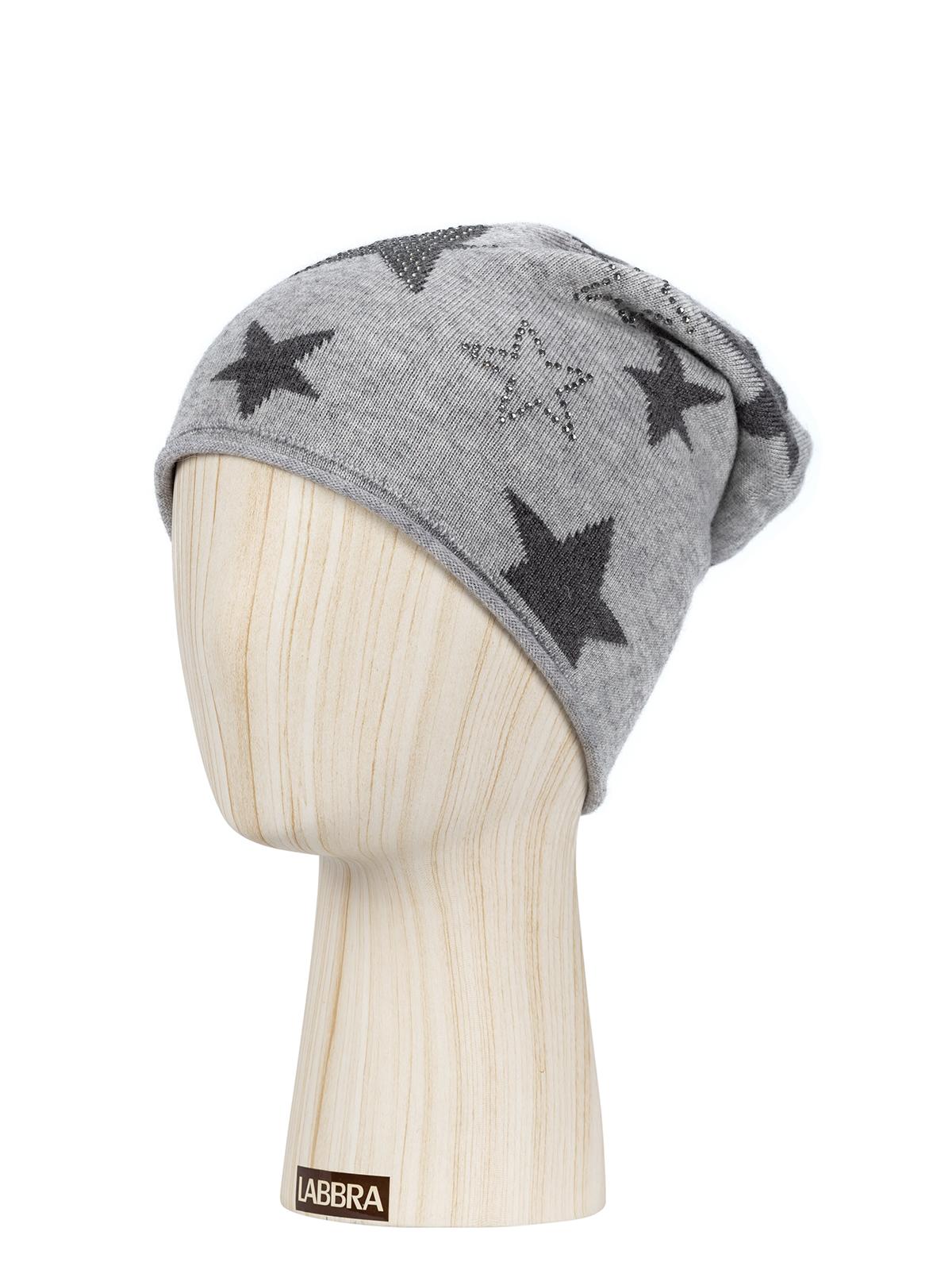 Шапка жен. шерсть+виск+хл+анг LB-D77007 l.grey/d.grey
